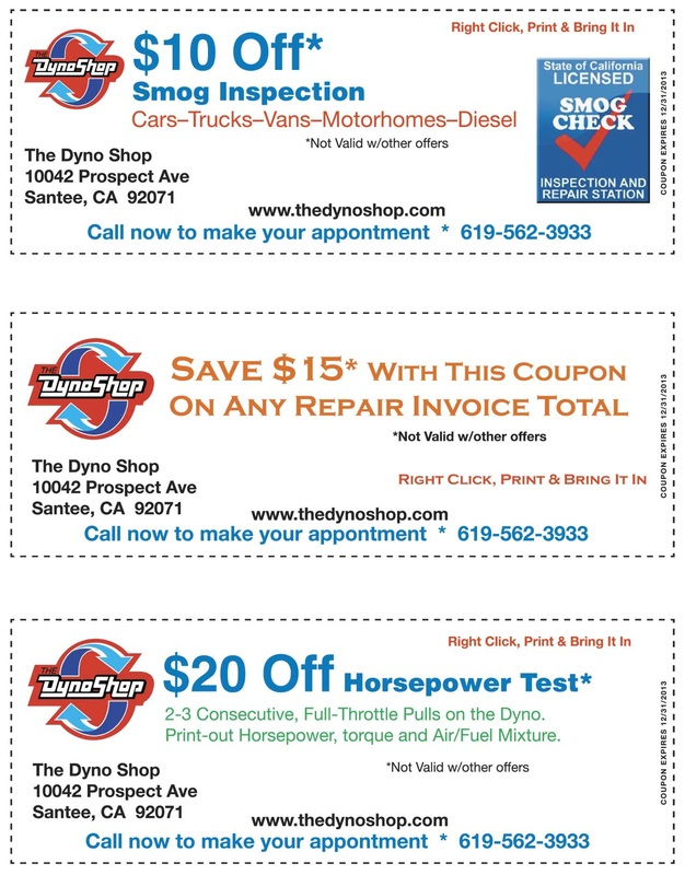 Auto repair, Santee, Ca - smog check coupon: $10 off; auto repair coupon: $15 off